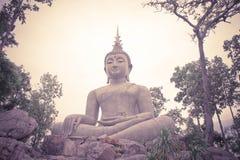 Thailand Loie, 11 juni 2017, stor buddha staty bland natur, b Royaltyfri Fotografi