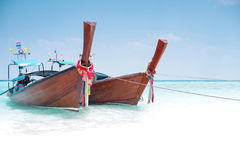 Thailand long boat with white sand Royalty Free Stock Photo