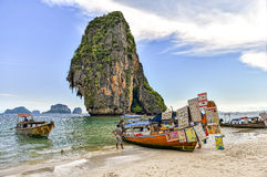 Thailand longboat shop in natural scenery. Trade on the traditional Thai boat is a natural scenery Railay Beach Stock Photography