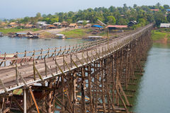 Thailand Longest Wooden Bridge Sangkhlaburi Stock Photo