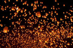 Thailand, Loy Krathong and Yi Peng Festival. Chiang Mai Province at night stock images