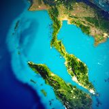 Thailand and Malaysia map. Elements of this image furnished by NASA. 3d rendering royalty free stock photography