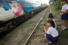 Thailand many peoples live along the railroad tracks or in slums Stock Photos