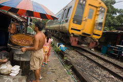 Thailand many peoples live along the railroad tracks or in slums Royalty Free Stock Photos