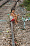 Thailand many peoples live along the railroad tracks or in slums Royalty Free Stock Photo