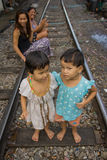 Thailand many peoples live along the railroad tracks or in slums Stock Images