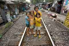 Thailand many peoples live along the railroad tracks or in slums Stock Image