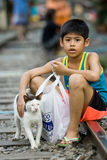 Thailand many peoples live along the railroad tracks or in slums Royalty Free Stock Images
