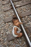 Thailand many peoples live along the railroad tracks or in slums Royalty Free Stock Image