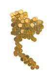 Thailand map arrange by gold coins on white background. Thai money country royalty free stock photography
