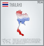 Thailand map in geometric polygonal style. Polygonal abstract world map. Vector illustration. Thailand flag. Stock Images