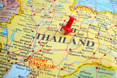 Thailand map. Macro shot of thailand map with push pin Stock Images