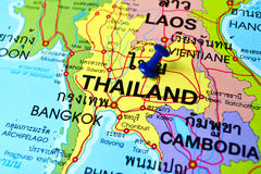 Thailand map. Macro shot of thailand map with push pin Royalty Free Stock Images