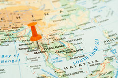 Thailand map pin. Closeup shot of Thailand and Malaysia map with push pin stock photos