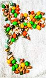 Thailand map sweet chocolate candy. Line up thailand map with chocolate candy drops royalty free stock photo