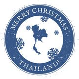 Thailand map. Vintage Merry Christmas Thailand. Royalty Free Stock Photo