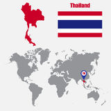 Thailand map on a world map with flag and map pointer. Vector illustration Royalty Free Stock Photography