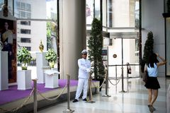 THAILAND MARCH 28 2013 BANGKOK Security guard in Royalty Free Stock Photo