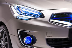 Close up shot of head lamp from Mitsubishi Concept G4 on display Royalty Free Stock Photo