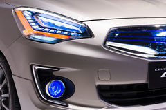 Close up shot of head lamp from Mitsubishi Concept G4 on display Stock Image