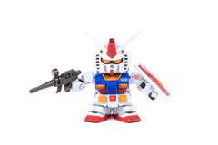 THAILAND -MARCH 18, 2015 : Figure of SD Gundam RX-78 animation i Stock Images