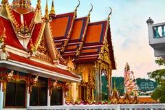 Thailand-Markstein Wat Phra Yai Temple Sunset Reise, Tourismus Lizenzfreies Stockfoto