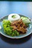 Thailand mat, chickenwithvitlök och peppar Arkivfoto
