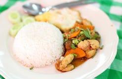 Thailand mat stekte grisköttris arkivfoto