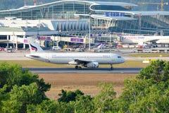 Thailand - May 4, 2016 : Aircraft A320 of Bangkok Airways taxiing on the runway to Terminal Building at Phuket Airport Stock Photo