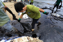 Thailand-milieu-olie-VERONTREINIGING Stock Foto