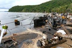 Thailand-milieu-olie-VERONTREINIGING Stock Afbeeldingen