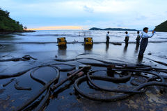 Thailand-milieu-olie-VERONTREINIGING Royalty-vrije Stock Foto's