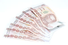 Thailand money on white background Royalty Free Stock Photo