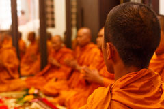 Thailand monk pray for celebration Royalty Free Stock Photo