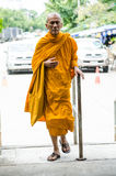 Thailand monk walking. Royalty Free Stock Photos