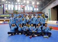 Thailand mottog det futsal laget den andra löparen-upp Fotografering för Bildbyråer