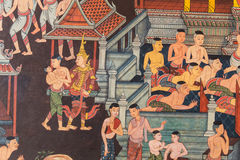 Thailand mural wall in temple Stock Photo