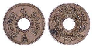 Thailand 0 mynt, 1937 eller B för 5 satang E isolerade 2480 arkivbilder