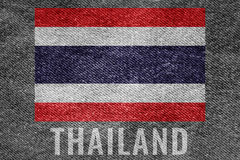 THAILAND nation flag on jean texture design Stock Images