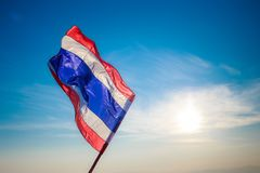 Thailand nation flag over sky cloud stock photos
