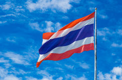 Thailand national flag on the flag pole against sky background Royalty Free Stock Images