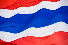Thailand national flag with red white and blue color flying wave abstract background Royalty Free Stock Photos