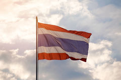 Thailand national flag staff and sky background royalty free stock photography