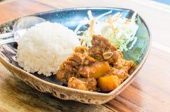 Thailand nordlig stil Hang Lay Pork Curry med kokta ris Royaltyfri Bild