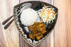 Thailand Northern Style Hang Lay Pork Curry with boiled rice Stock Image