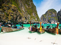 Thailand ocean landscape. Exotic beach view and traditional shi Royalty Free Stock Images