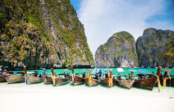 Thailand ocean landscape. Exotic beach view and traditional shi Royalty Free Stock Photos