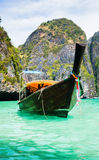 Thailand ocean landscape. Exotic beach view and traditional shi Stock Images