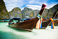 Thailand ocean landscape. Exotic beach view and traditional shi Stock Photo