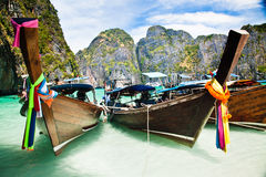 Thailand ocean landscape. Exotic beach view and traditional shi Stock Image